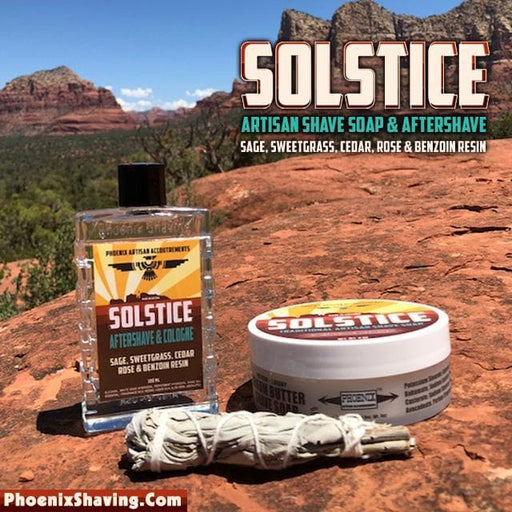 Solstice Artisan Shave Soap & Aftershave Bundle Deal - Sage, Sweetgrass, Cedar, Rose & Hay Absolute and Benzoin Resin - Phoenix Artisan Accoutrements