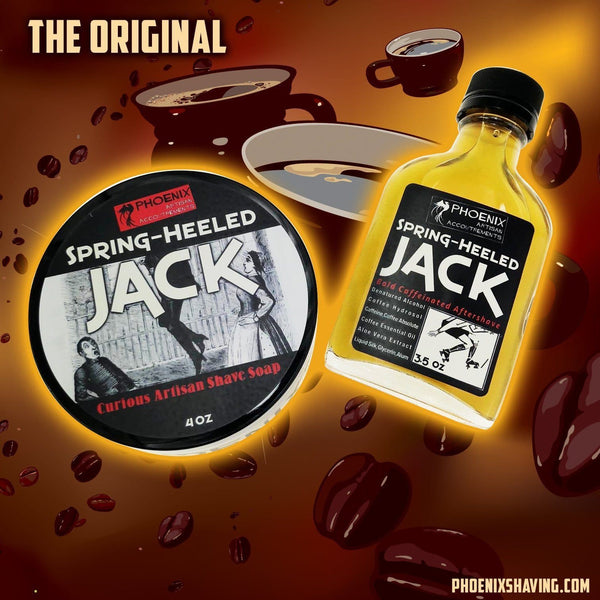 Spring Heeled Jack Artisan Shave Soap & Aftershave/Cologne - Bundle Deal - Pure, Bold, Black Coffee - Phoenix Artisan Accoutrements