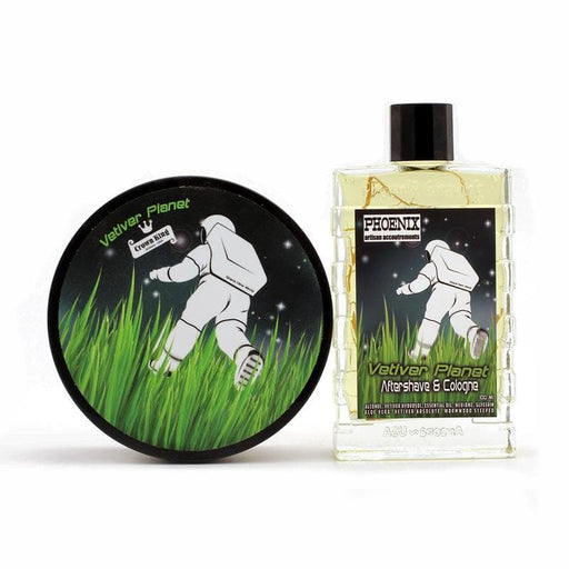 Vetiver Planet Artisan Shave Soap & Aftershave Cologne Bundle - Pure Essential Oils & Absolutes - Contains Real Vetiver Roots - Phoenix Artisan Accoutrements