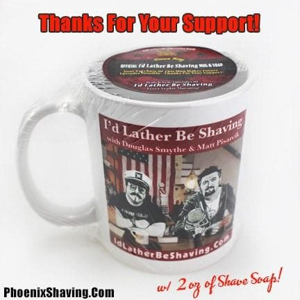Coffee Mug - Official I'd Lather Be Shaving Coffee Mug - 2 Oz Pineapple Bay Rum Shave Soap!