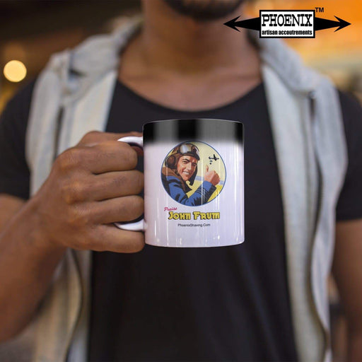 John Frum Magic Coffee Mug - Reveals Our Hero w/ Hot Drink! - Phoenix Artisan Accoutrements