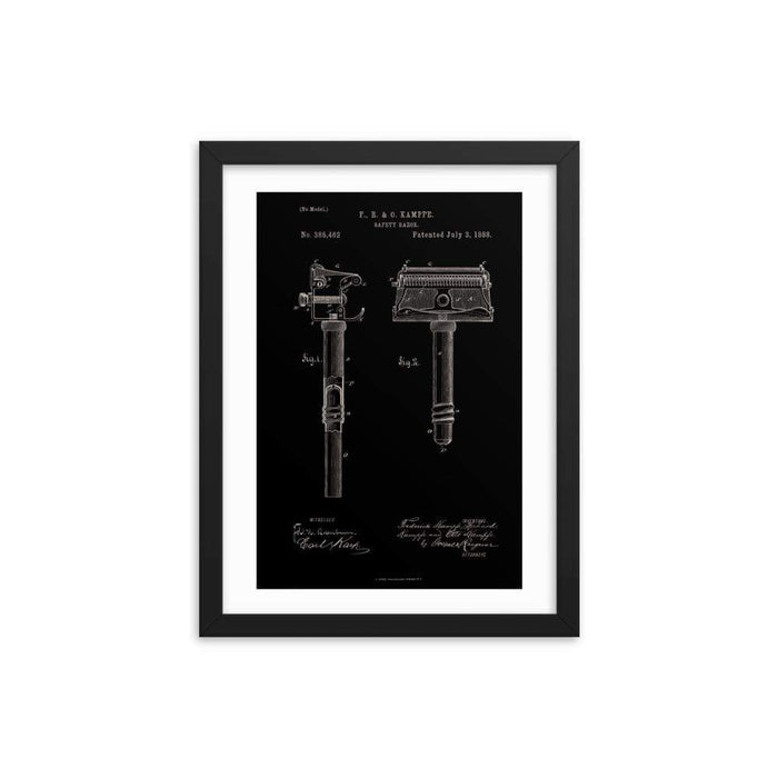 Kampfe Brothers Patent Drawing Elegant Black Framed Print - Phoenix Artisan Accoutrements
