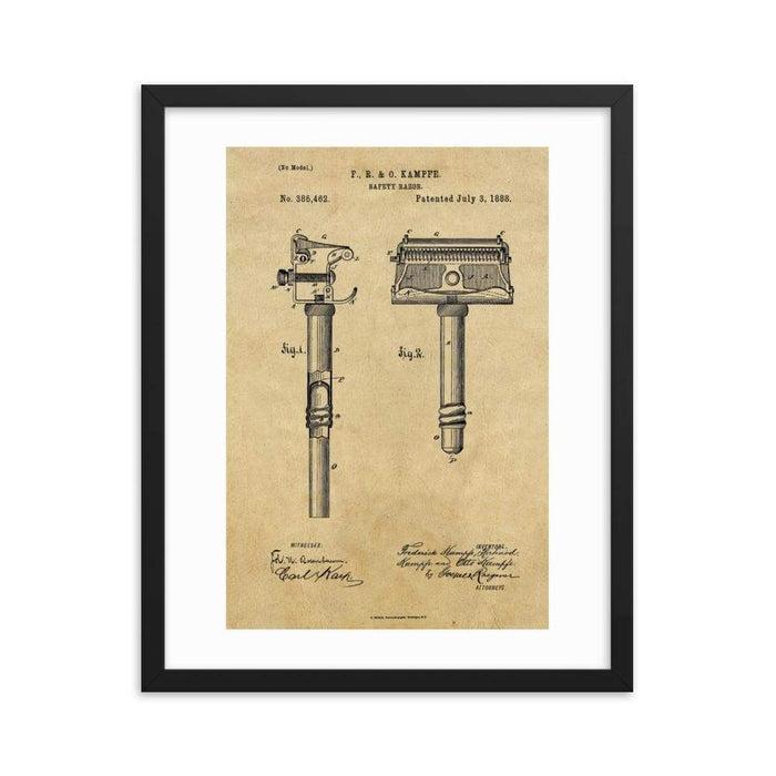 Kampfe Brothers Patent Drawing Framed Print - Phoenix Artisan Accoutrements