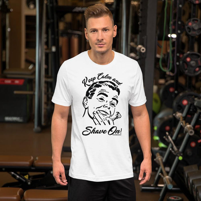 Keep Calm & Shave On Short-Sleeve Unisex T-Shirt - Phoenix Shaving Collection - Phoenix Artisan Accoutrements
