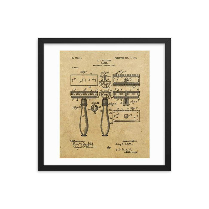 King C Gillette Patent Drawing 1904 Framed Print - Phoenix Artisan Accoutrements