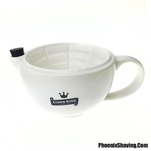 Lather Mugs/Bowls - Crown King Victorian/Western Style 12 Oz Scuttle - Durable Porcelain - Heirloom Quality - Dishwasher Safe Available In Black Or White!