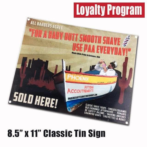 Classic Phoenix Shaving Barbershop Style Tin Sign - Eligible for Loyalty Program - Phoenix Artisan Accoutrements