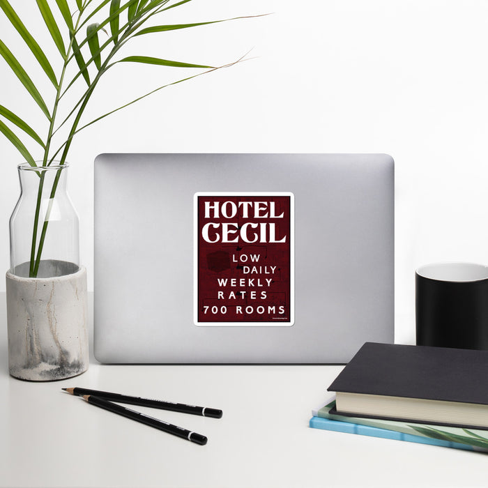 Hotel Cecil Rates Bubble-Free Vinyl Stickers | Available in 3 Sizes! - Phoenix Artisan Accoutrements