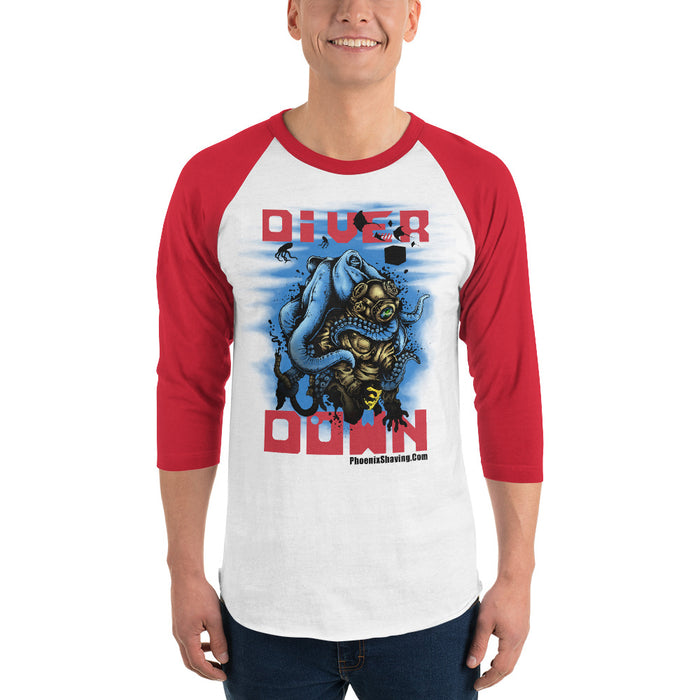 Diver Down Homage to the Original Seaforth Spiced! 3/4 sleeve raglan baseball shirt - Phoenix Artisan Accoutrements