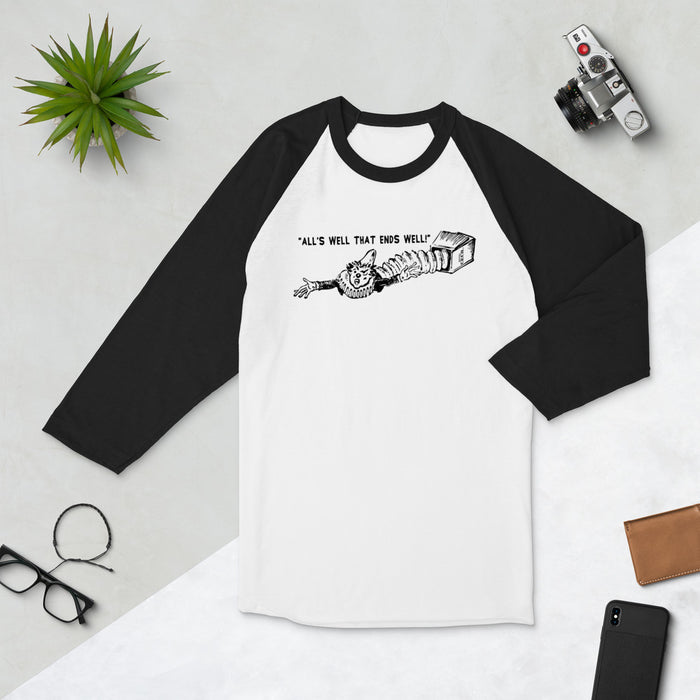 "Hotel Cecil ""All's Well That Ends Well!"" 3/4 sleeve raglan shirt - Phoenix Artisan Accoutrements"
