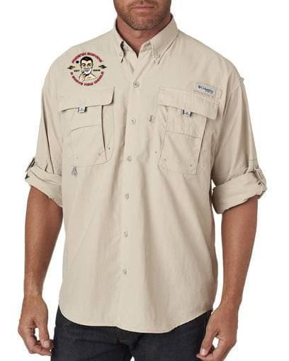 Modern/Classic Columbia Embroidered Phoenix Shaving Safari Shirt - Phoenix Artisan Accoutrements
