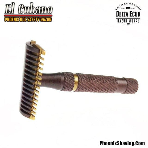 Safety Razors - El Cubano DOC Safety Razor - Havana Bronze & Bock Gold Gun Kote