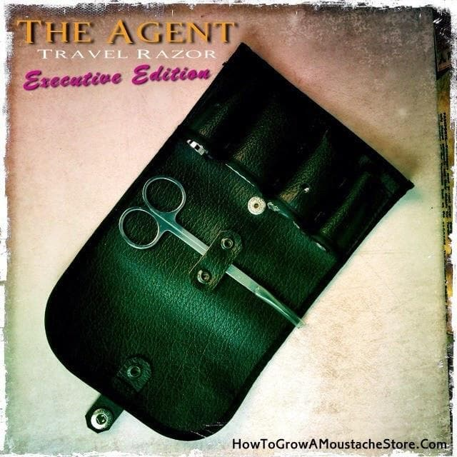 The Agent 4-piece Travel Razor - Executive Edition (Includes Case- Choice Of Open Comb or Straight Bar, Astra Blades and Trimming Scissors) - Phoenix Artisan Accoutrements