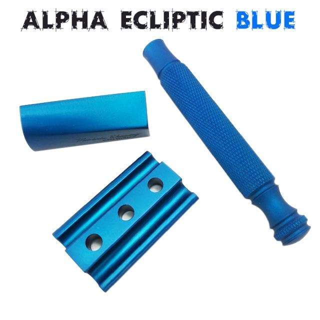 The Alpha Ecliptic Blue Slant Razor - Aluminum 7075 - Anodized Blue - Phoenix Artisan Accoutrements