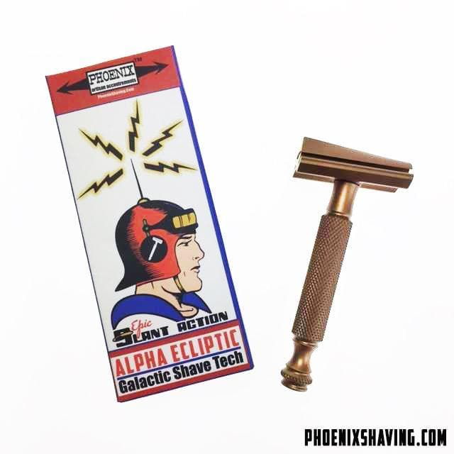 The Alpha Ecliptic Slant Razor - Aluminum 7075 - Anodized Antique Light Bronze - Phoenix Artisan Accoutrements