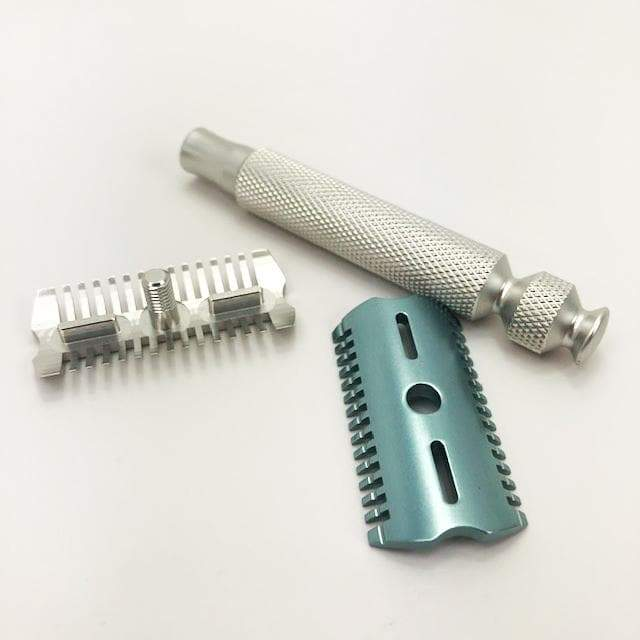 The Ascension Twist-Adjustable Double Open Comb Safety Razor - CNC Machined | 7075 Aluminum | Electric Aqua Base - Phoenix Artisan Accoutrements