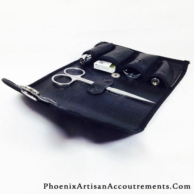 The Flight SATIN DOC 4-piece Travel Razor - (Includes Case, Blades and Trimming Scissors) - Phoenix Artisan Accoutrements