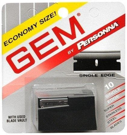 Gem Personna Single Edge Super Stainless Steel Blades with Blade Vault - 10 Pack