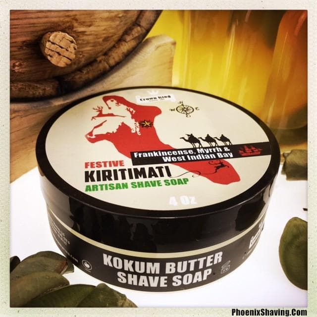 Kiritimati Artisan Shave Soap | Ultra Premium CK-6 Formula - Frankincense, Myrrh and West Indian Bay - Oak Barrel Aged | 5 Oz - Phoenix Artisan Accoutrements