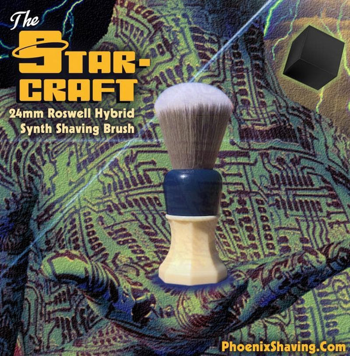 The Starcraft - 24mm Roswell (grey) Hybrid Synth Brush - Retro Shave Tech! - Phoenix Artisan Accoutrements