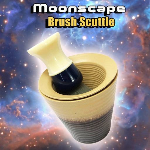 Phoenix Shaving Moonscape Brush Scuttle | A Classic Face Lathering Tool | Ceramic - Phoenix Artisan Accoutrements