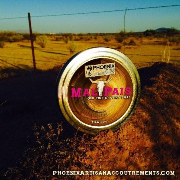 Shaving Soap - Mal Pais Shaving Soap - Mesquite, Leather, Black Pepper & More - Phoenix Artisan Accoutrements