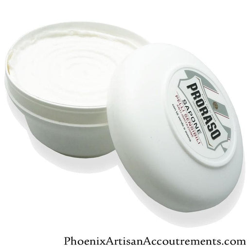 Proraso Green Tea & Oat Shave Soap for Sensitive Skin - 5.2oz White Plastic Tub - Phoenix Artisan Accoutrements