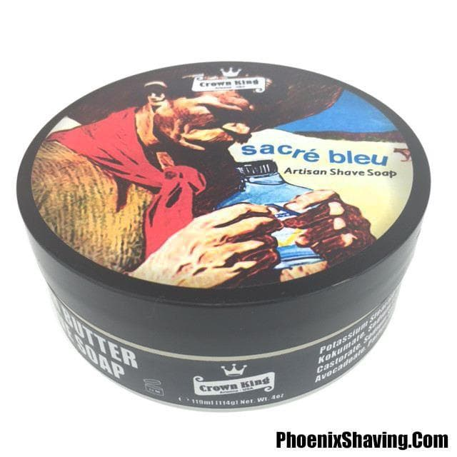 Sacré Bleu Crown King Kokum Butter Shave Soap - Classic Ice Blue Scent 4 oz - Phoenix Artisan Accoutrements