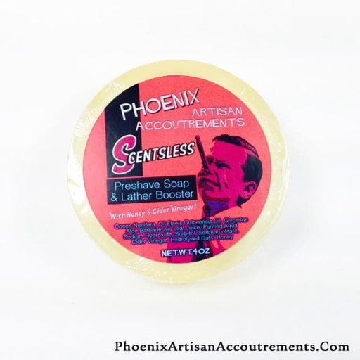 Scentsless & MENTHOL FREE - Honey, Aloe & Cider Vinegar Pre-Shave Soap & Lather Booster - Phoenix Artisan Accoutrements