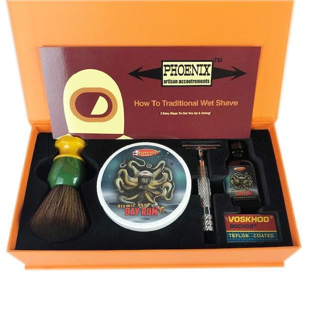 Phoenix Shaving Traditional Shaving Starter Kit ~ CK-6 Atomic Age Bay Rum Symmetry Straight Bar Set - Phoenix Artisan Accoutrements