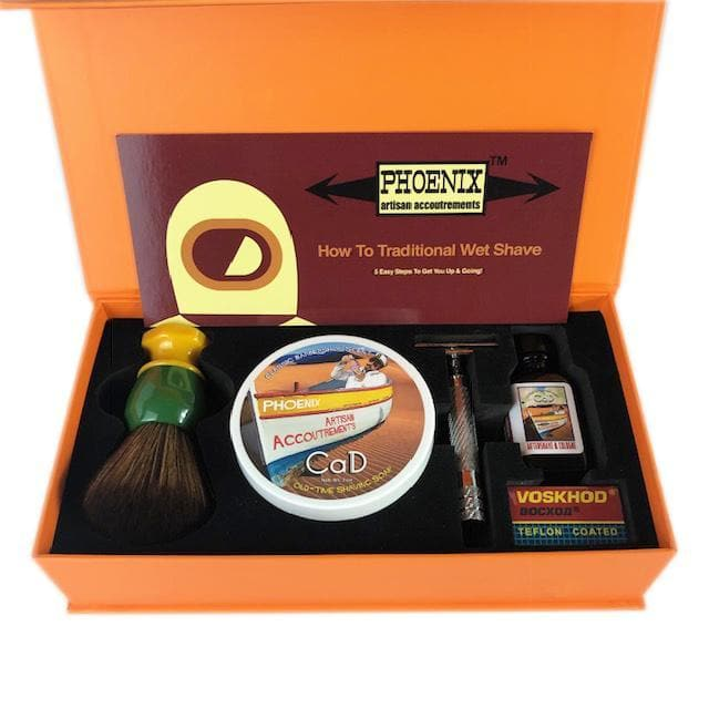 Phoenix Shaving Traditional Shaving Starter Kit ~ CK-6 CaD Symmetry Straight Bar Set - Phoenix Artisan Accoutrements