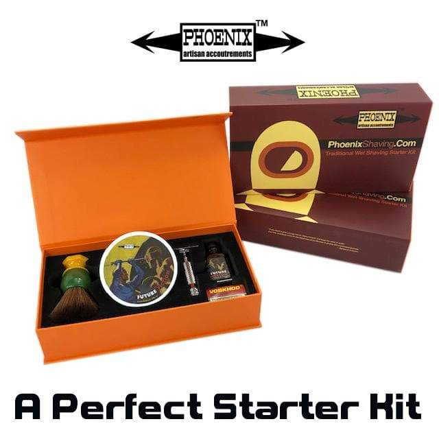 Phoenix Shaving Traditional Shaving Starter Kit ~ CK-6 Future Fiction & Symmetry Straight Bar Set - Phoenix Artisan Accoutrements