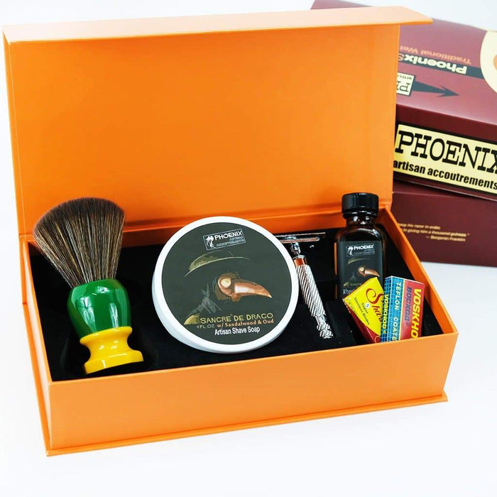 Phoenix Shaving Traditional Shaving Starter Kit ~ CK-6 Sangre De Drago Symmetry Straight Bar Set - Phoenix Artisan Accoutrements