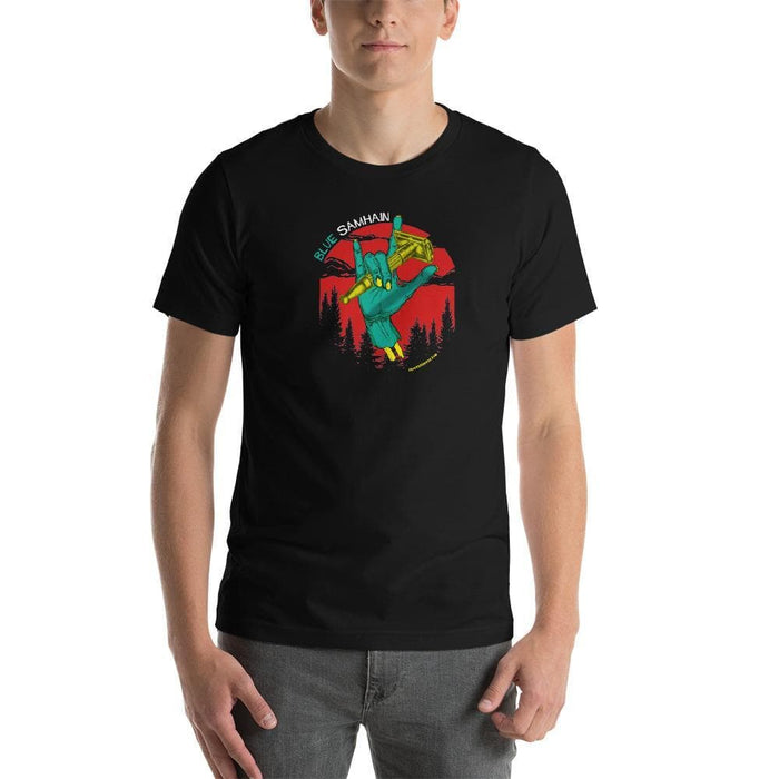 Blue Samhain Sk-8 Style w/ Toggle Short-Sleeve Unisex T-Shirt - Phoenix Artisan Accoutrements