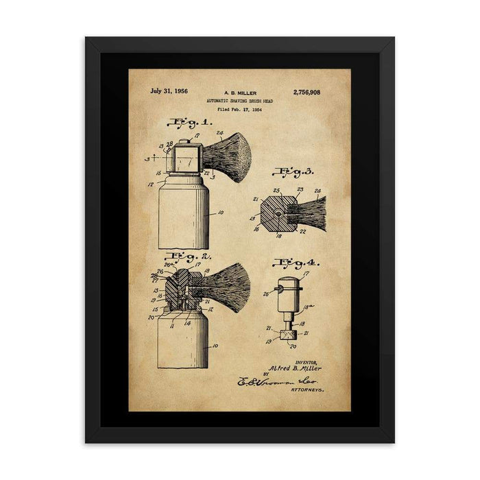 Vintage Automatic Shave Brush Patent Drawing Framed Print | 1954 - Phoenix Artisan Accoutrements