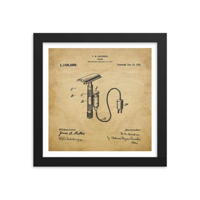 Vintage Davidson Patent Drawing Framed Print - Phoenix Artisan Accoutrements