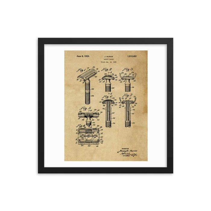 Vintage Early TTO Safety Razor Patent Drawing Framed Print - Phoenix Artisan Accoutrements