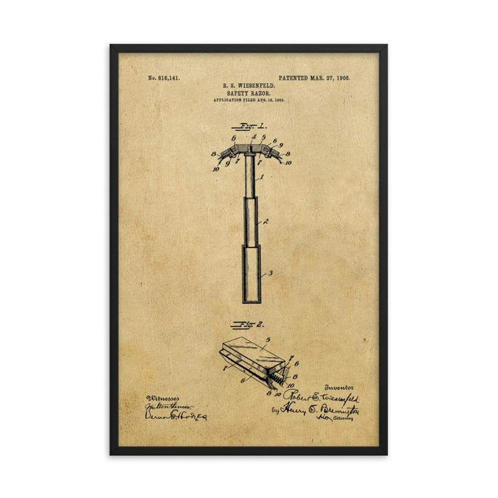 "Vintage ""Folding Head"" Safety Razor Patent Drawing Framed Print - Phoenix Artisan Accoutrements"