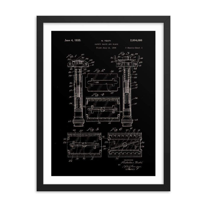 Vintage Gillette TTO Patent Drawing 1935 Elegant Black Framed Print - Phoenix Artisan Accoutrements