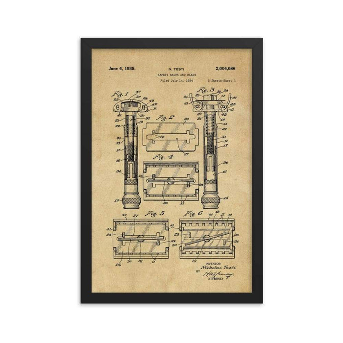 Vintage Gillette TTO Safety Razor Patent Drawing Framed Print - Phoenix Artisan Accoutrements