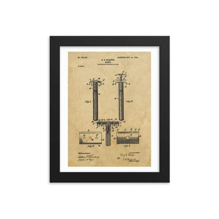 Vintage King C Gillette Patent Drawing 2 - 1904 Framed Print - Phoenix Artisan Accoutrements