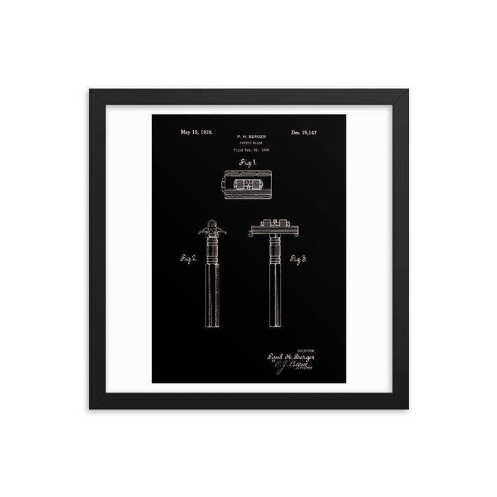 Vintage King Oscillator Patent Drawing Elegant Black Framed Print - Phoenix Artisan Accoutrements