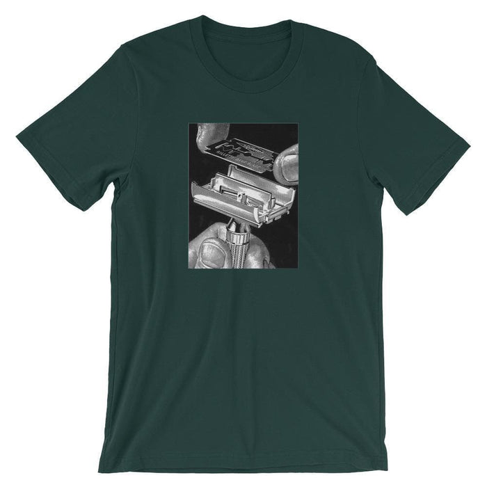 Vintage Safety Razor & Blade Advert Short-Sleeve Unisex T-Shirt - Phoenix Artisan Accoutrements