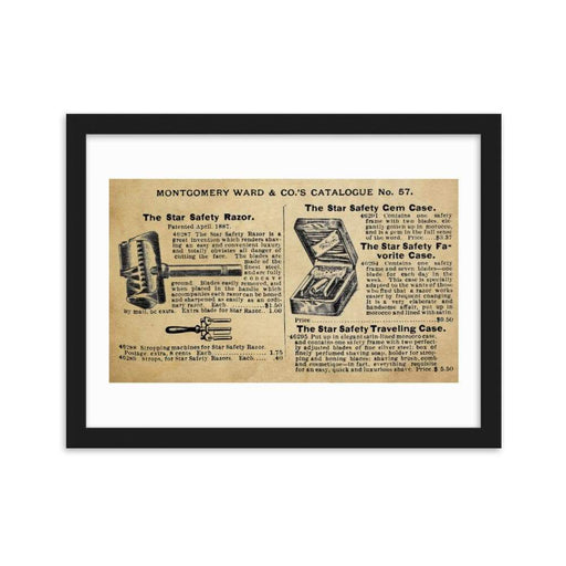 Vintage Star Safety Razor Ad Framed Print - Phoenix Artisan Accoutrements