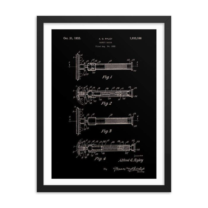 "Vintage ""Swivel Head"" Patent Drawing 1933 Elegant Black Framed Print - Phoenix Artisan Accoutrements"