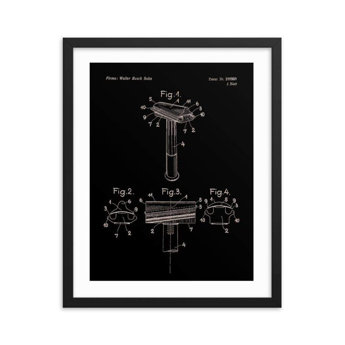 "Vintage Walbusch ""Hump Back"" Patent Drawing Elegant Black Framed Print - Phoenix Artisan Accoutrements"