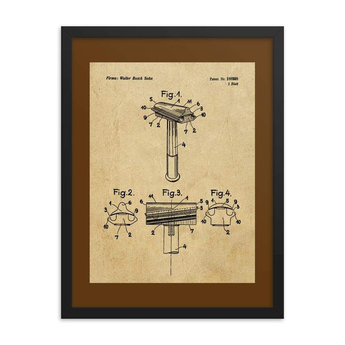 Vintage Walbusch Slant Razor Patent Drawing Framed Print - Phoenix Artisan Accoutrements