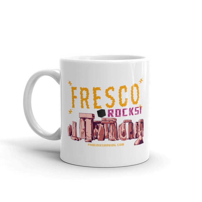 Fresco Rocks! White Glossy Diner Style Coffee Mug - Phoenix Artisan Accoutrements