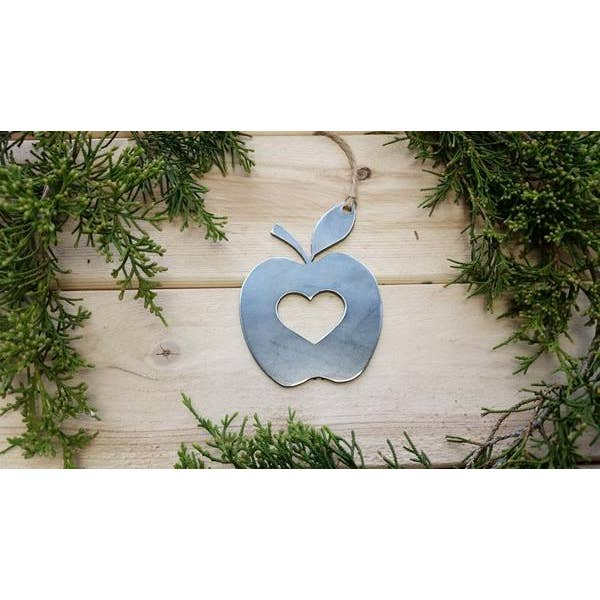 Apple Christmas Ornament made from recycled raw steel