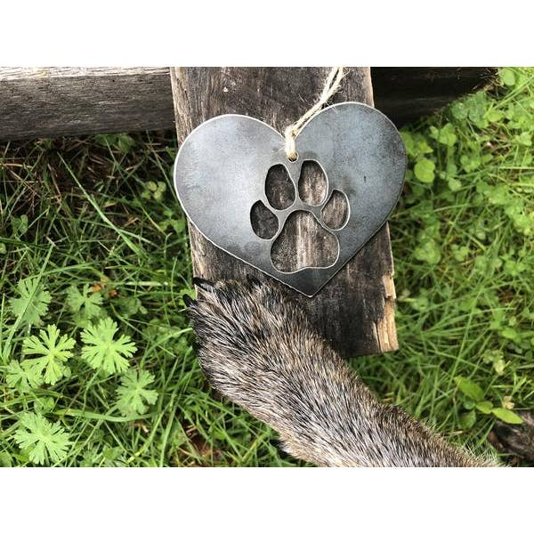 Dog Paw in Heart Christmas Ornament